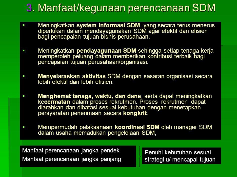 3. Manfaat/kegunaan perencanaan SDM