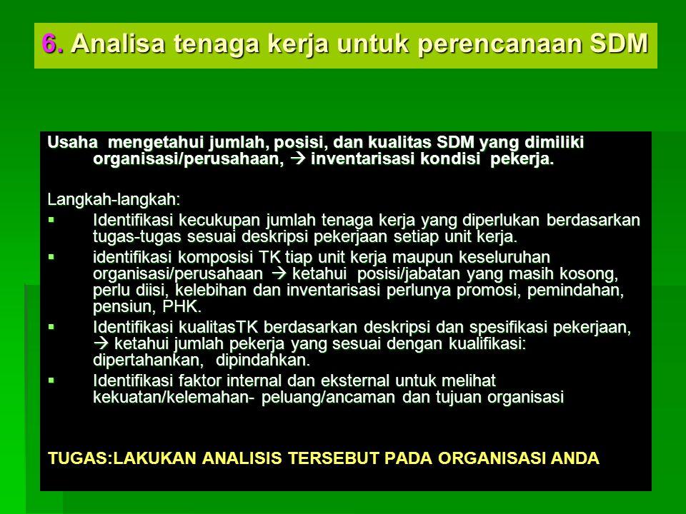 6. Analisa tenaga kerja untuk perencanaan SDM
