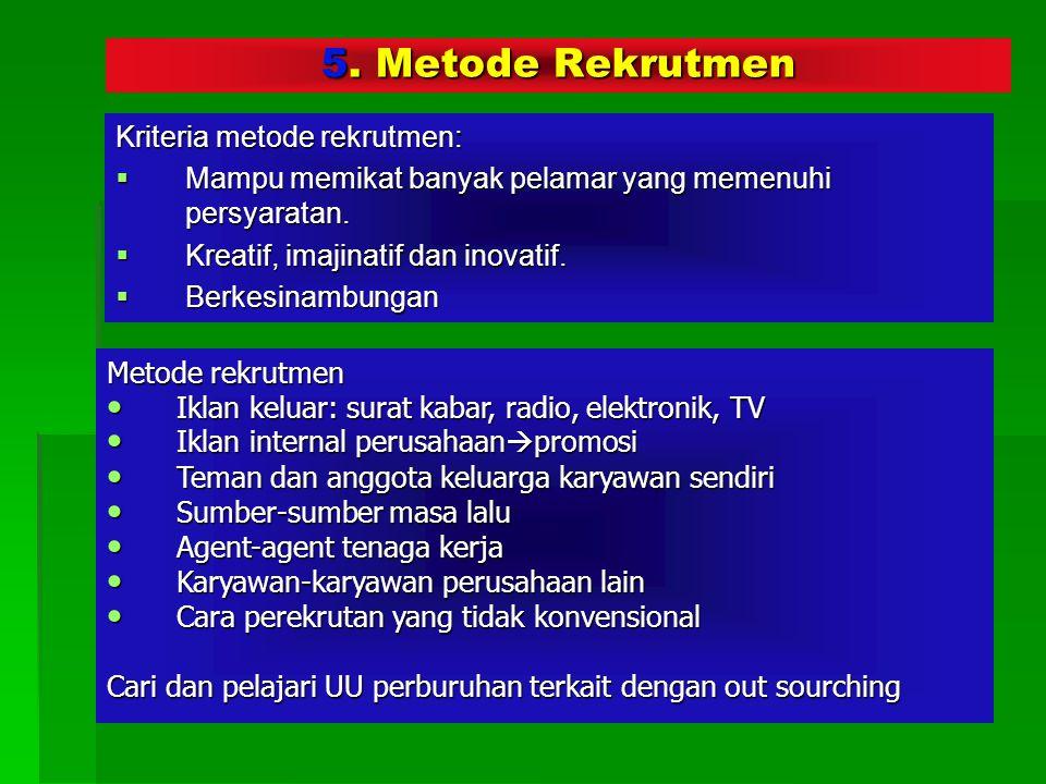 5. Metode Rekrutmen Kriteria metode rekrutmen: