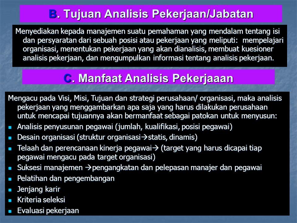 B. Tujuan Analisis Pekerjaan/Jabatan