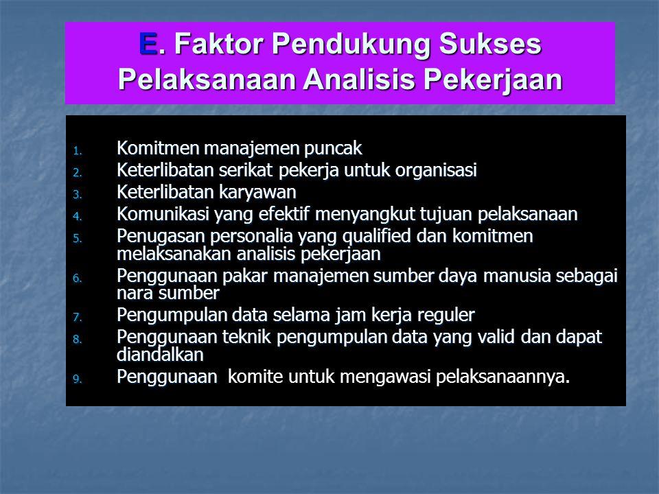 E. Faktor Pendukung Sukses Pelaksanaan Analisis Pekerjaan