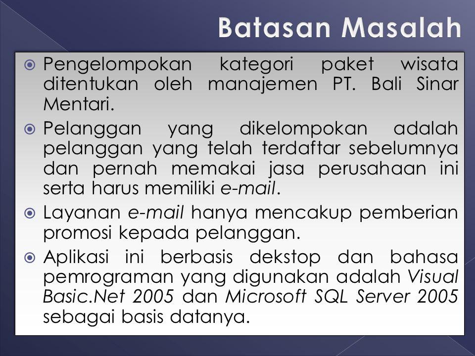 Batasan Masalah Pengelompokan kategori paket wisata ditentukan oleh manajemen PT. Bali Sinar Mentari.