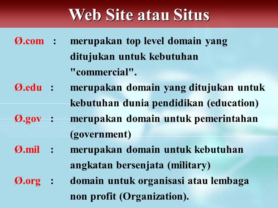 Web Site atau Situs Ø.com : merupakan top level domain yang