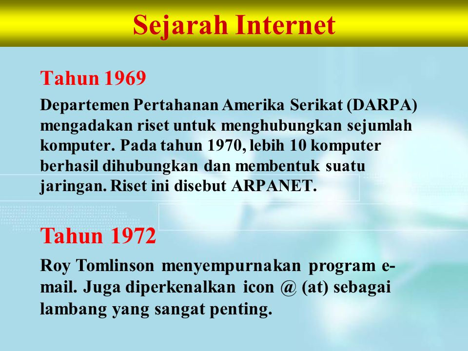 Sejarah Internet Tahun 1972 Tahun 1969