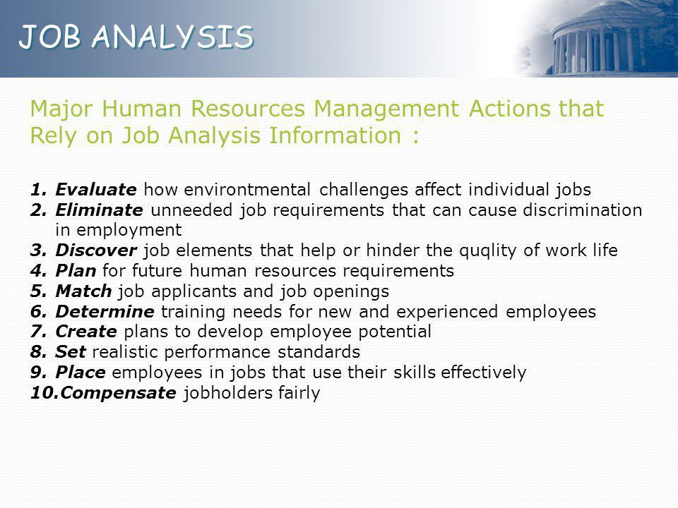 JOB ANALYSIS Major Human Resources Management Actions that