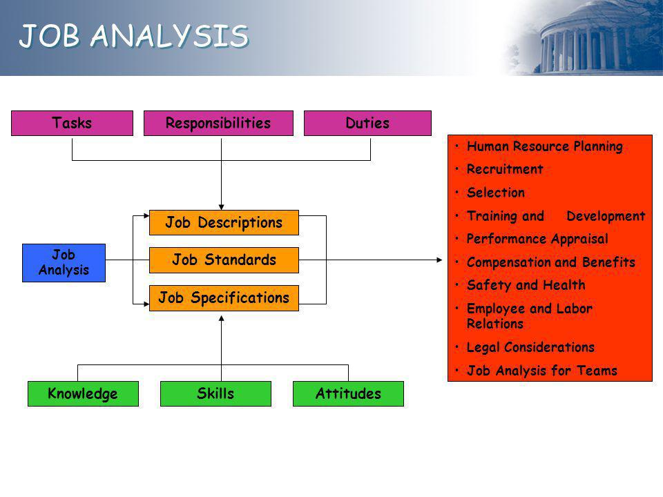 JOB ANALYSIS Tasks Responsibilities Duties Job Descriptions