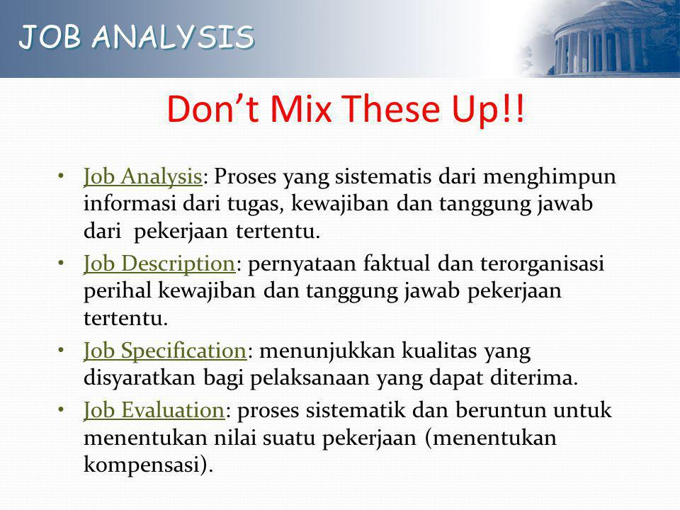 Don't Mix These Up!! JOB ANALYSIS