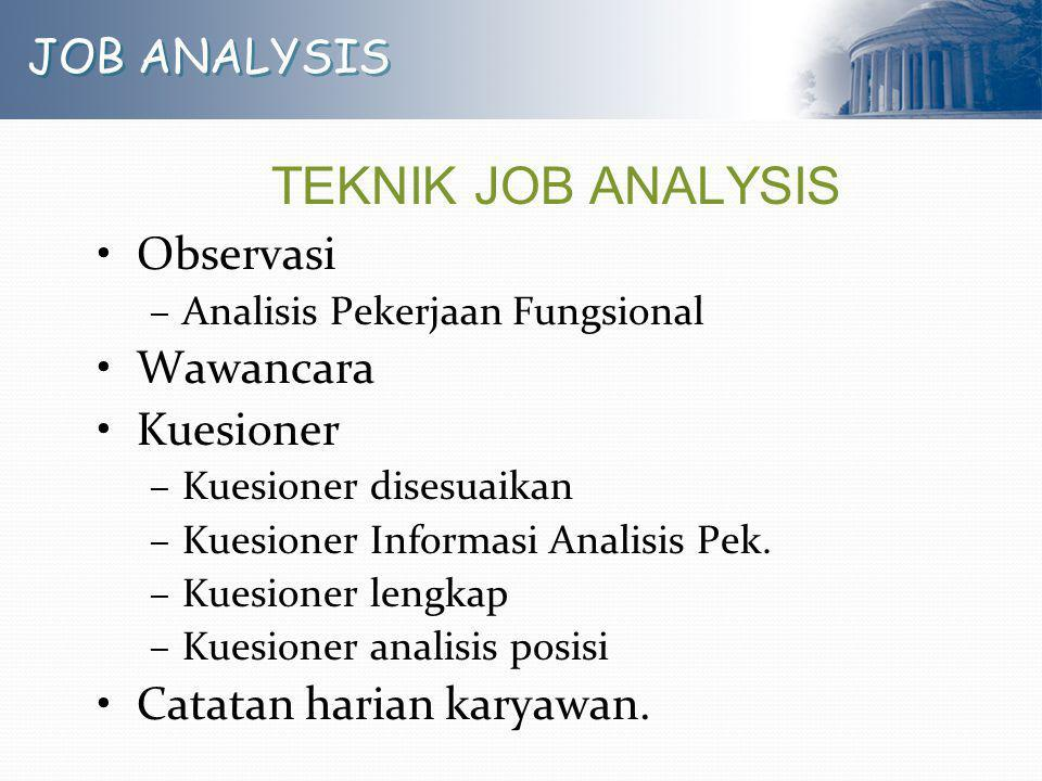 TEKNIK JOB ANALYSIS JOB ANALYSIS Observasi Wawancara Kuesioner