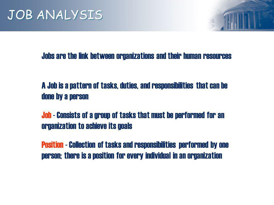 JOB ANALYSIS Jobs are the link between organizations and their human resources.