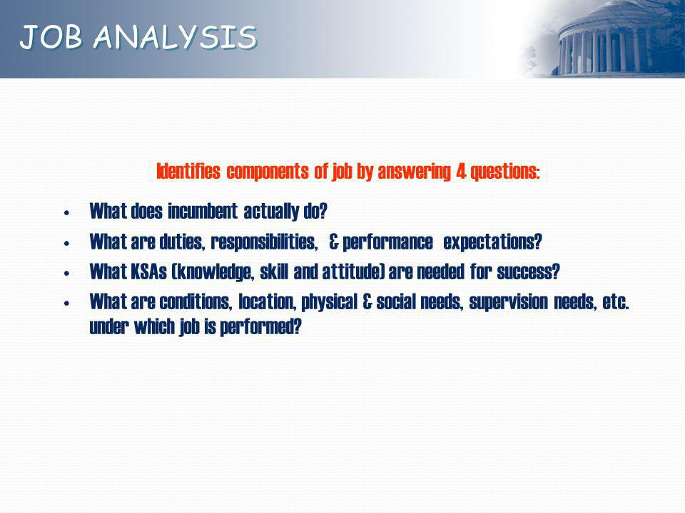 Identifies components of job by answering 4 questions: