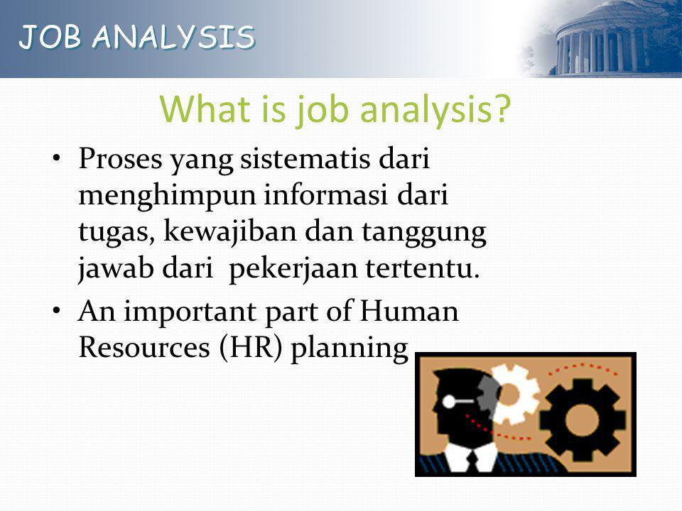 What is job analysis JOB ANALYSIS