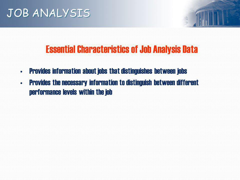 Essential Characteristics of Job Analysis Data