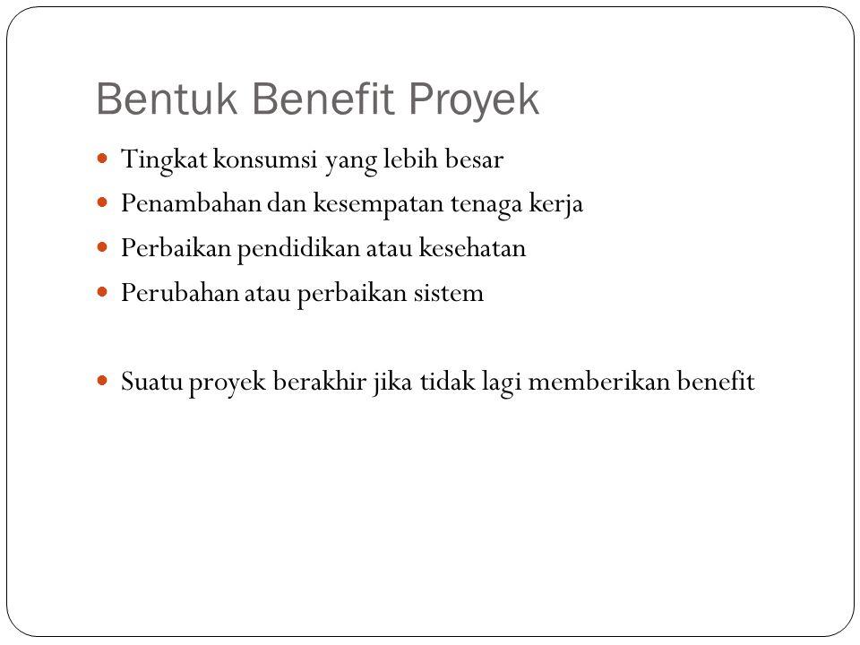 Bentuk Benefit Proyek Tingkat konsumsi yang lebih besar
