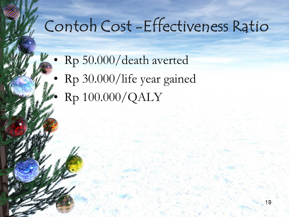 Contoh Cost -Effectiveness Ratio