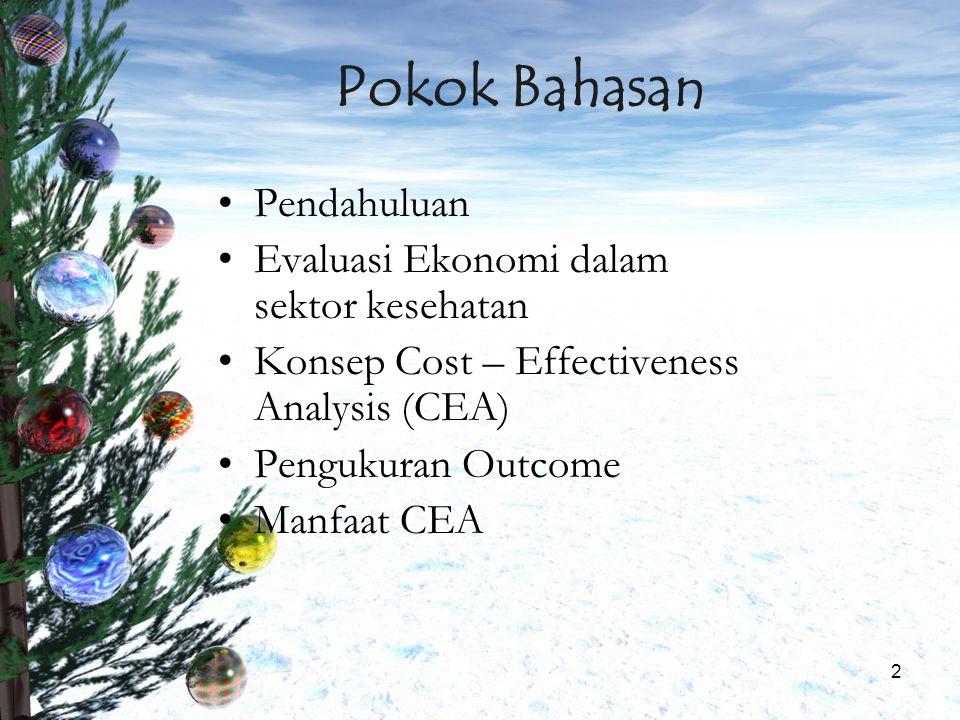 Pokok Bahasan Pendahuluan Evaluasi Ekonomi dalam sektor kesehatan