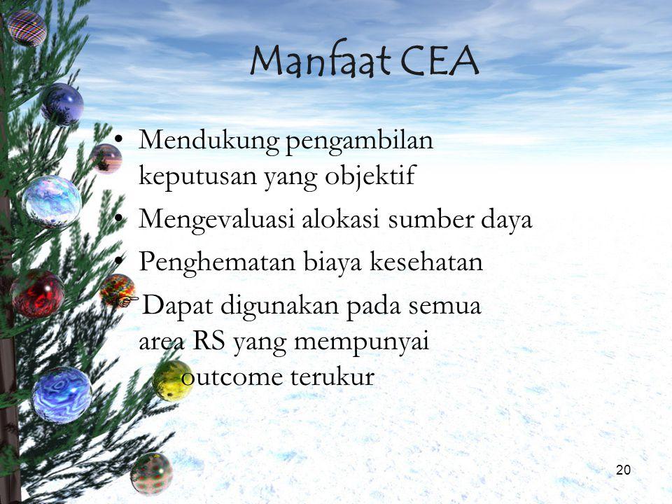 Manfaat CEA Mendukung pengambilan keputusan yang objektif