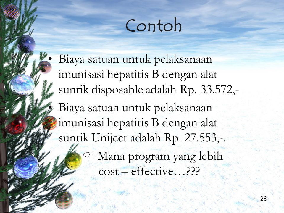 Contoh Biaya satuan untuk pelaksanaan imunisasi hepatitis B dengan alat suntik disposable adalah Rp. 33.572,-