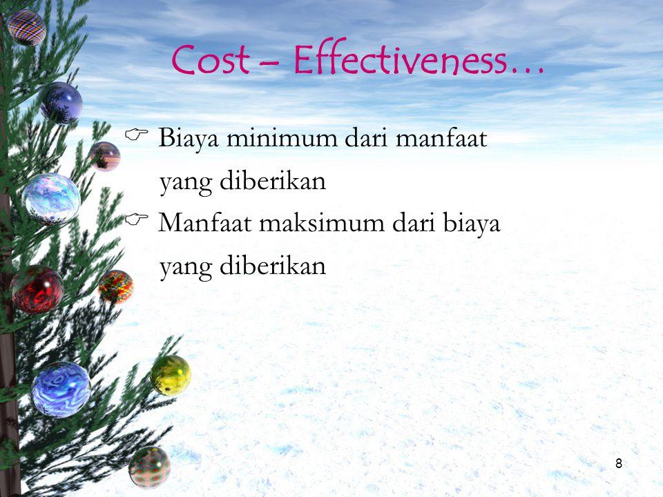 Cost – Effectiveness… Biaya minimum dari manfaat yang diberikan
