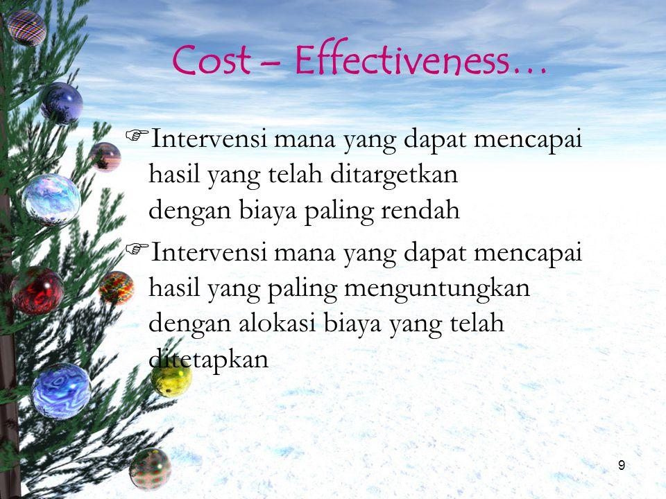 Cost – Effectiveness… Intervensi mana yang dapat mencapai hasil yang telah ditargetkan dengan biaya paling rendah.