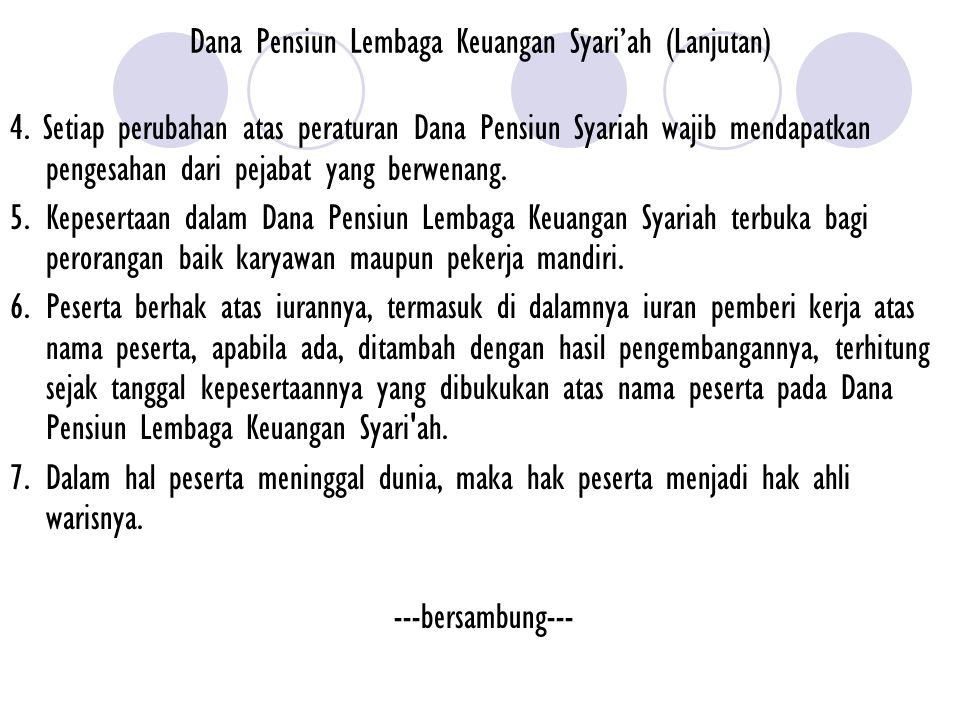 Dana Pensiun Lembaga Keuangan Syari'ah (Lanjutan)