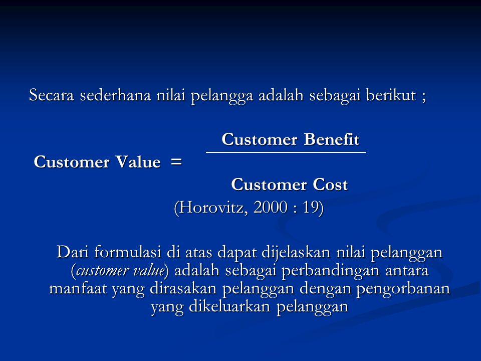 Secara sederhana nilai pelangga adalah sebagai berikut ;