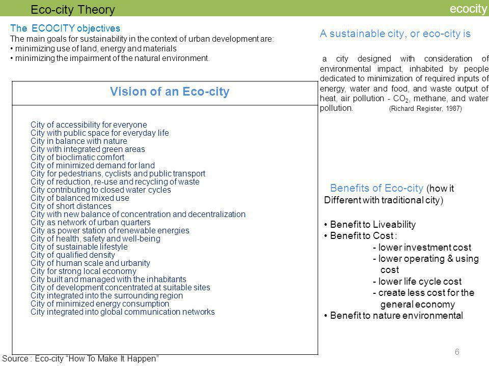Eco-city Theory ecocity Vision of an Eco-city