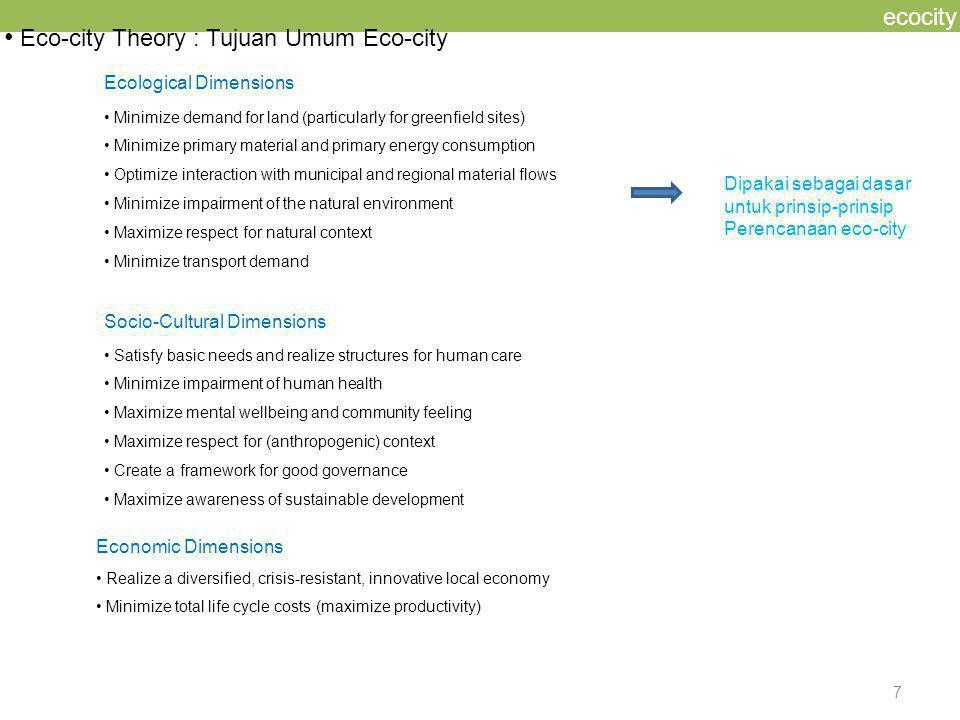 Eco-city Theory : Tujuan Umum Eco-city