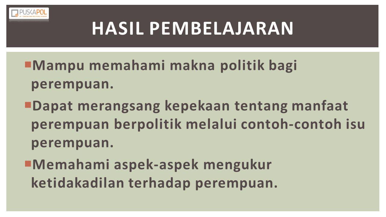 Hasil Pembelajaran Mampu memahami makna politik bagi perempuan.