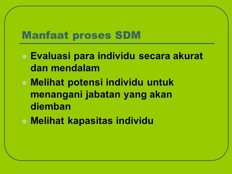 Manfaat proses SDM Evaluasi para individu secara akurat dan mendalam