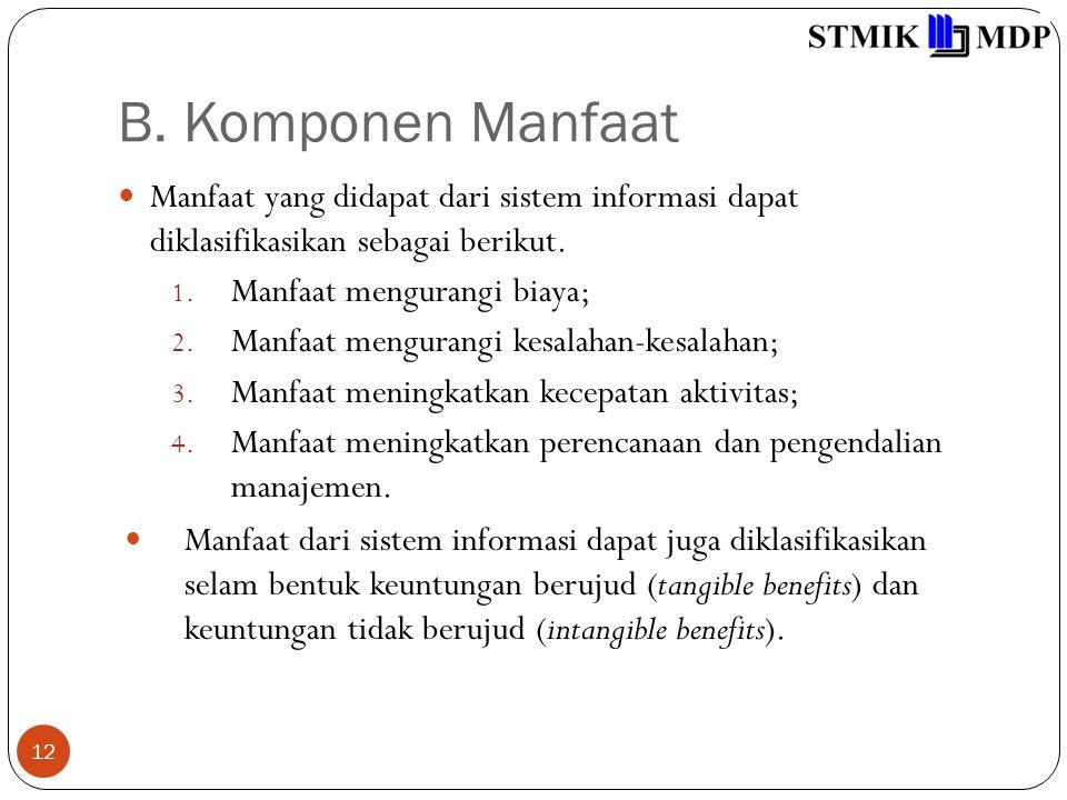 B. Komponen Manfaat Manfaat yang didapat dari sistem informasi dapat diklasifikasikan sebagai berikut.