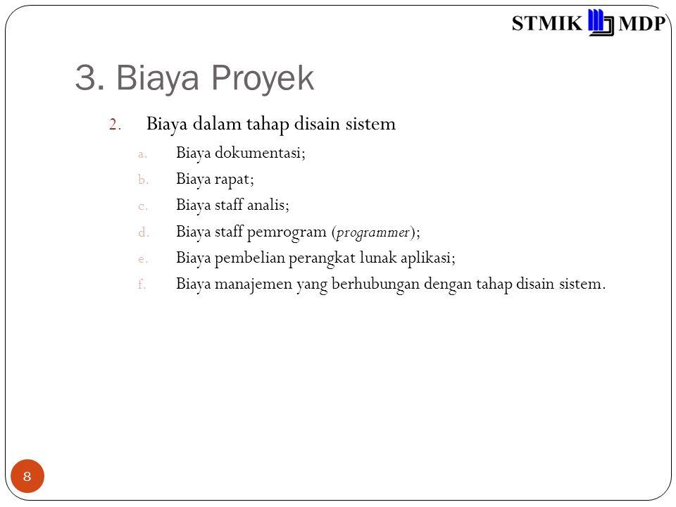 3. Biaya Proyek Biaya dalam tahap disain sistem Biaya dokumentasi;