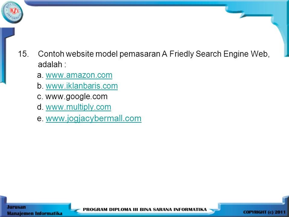 Contoh website model pemasaran A Friedly Search Engine Web,
