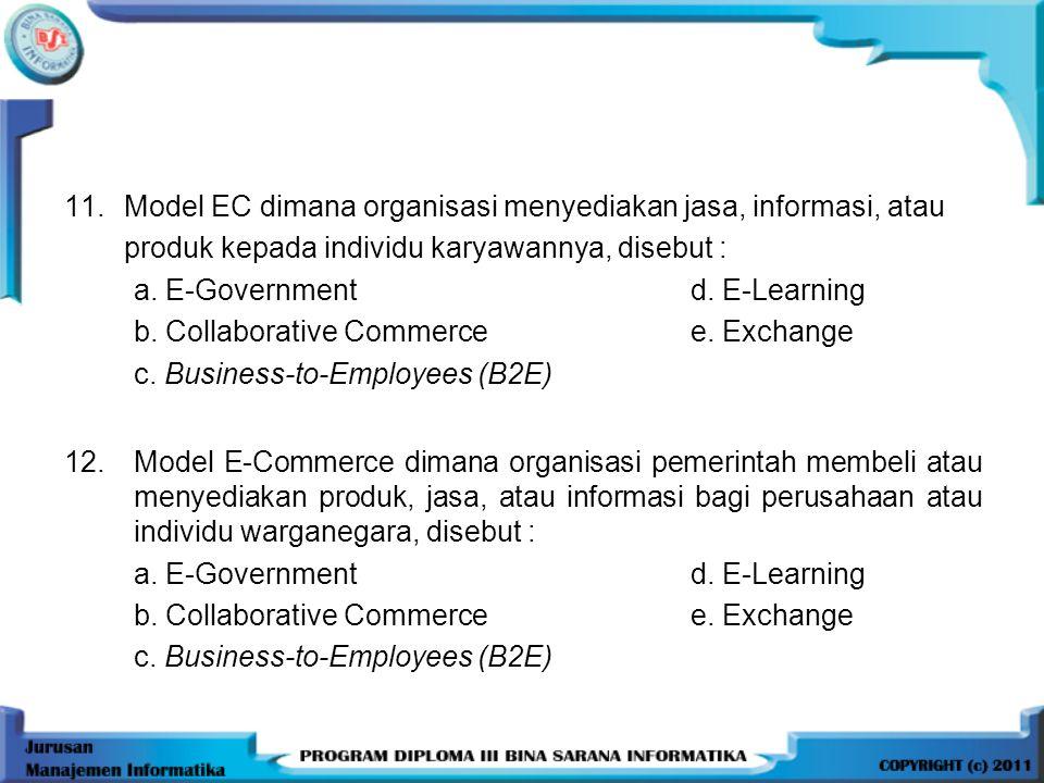 Model EC dimana organisasi menyediakan jasa, informasi, atau