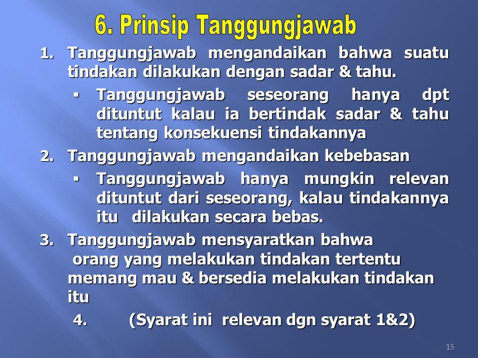 6. Prinsip Tanggungjawab (Syarat ini relevan dgn syarat 1&2)