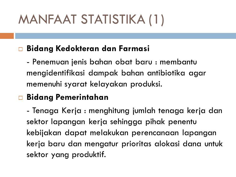 MANFAAT STATISTIKA (1) Bidang Kedokteran dan Farmasi