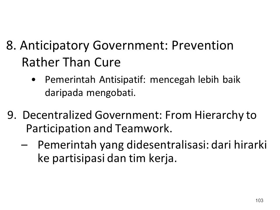 8. Anticipatory Government: Prevention Rather Than Cure