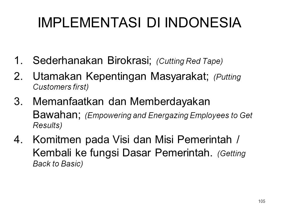 IMPLEMENTASI DI INDONESIA