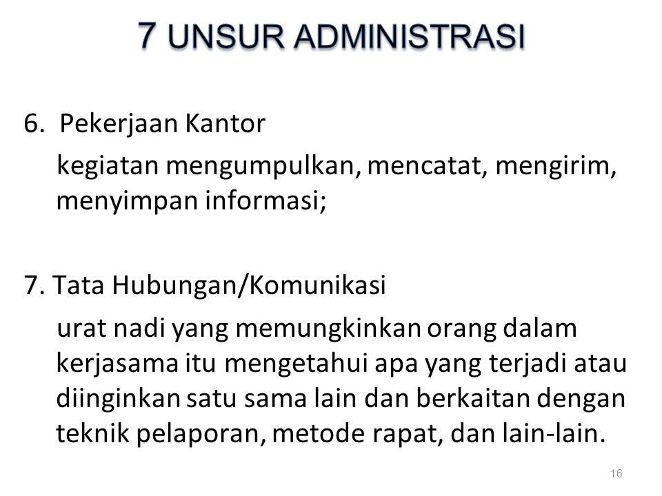 7 UNSUR ADMINISTRASI 6. Pekerjaan Kantor