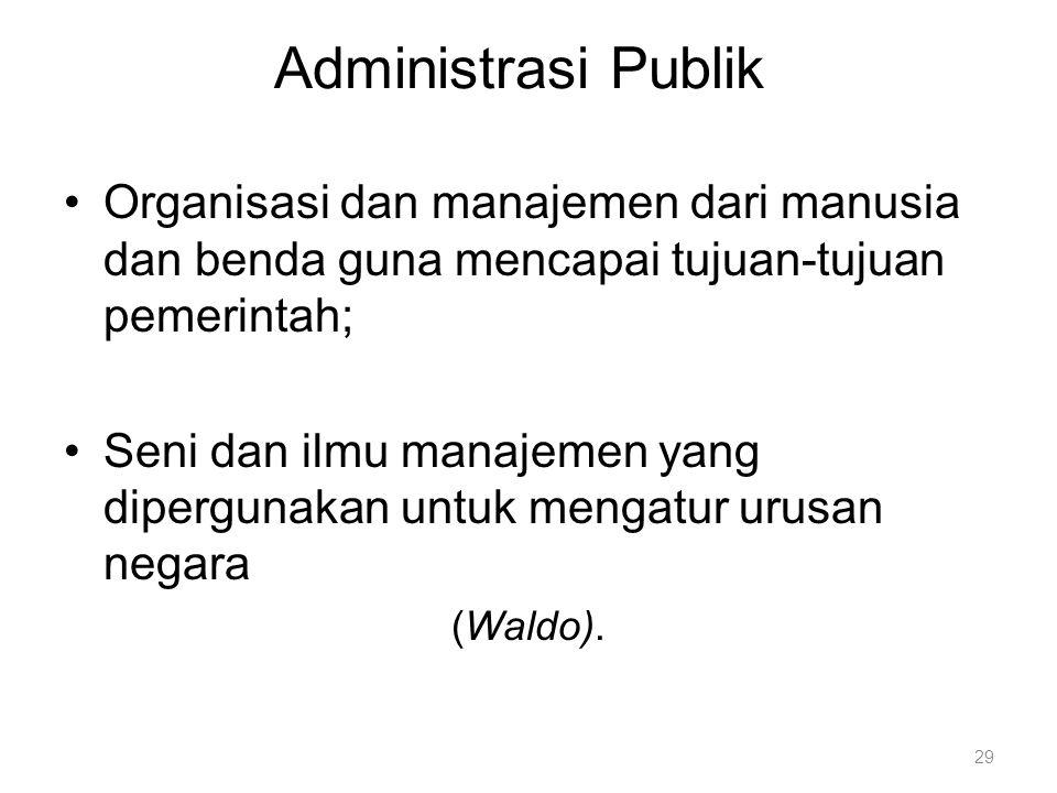 Administrasi Publik Organisasi dan manajemen dari manusia dan benda guna mencapai tujuan-tujuan pemerintah;
