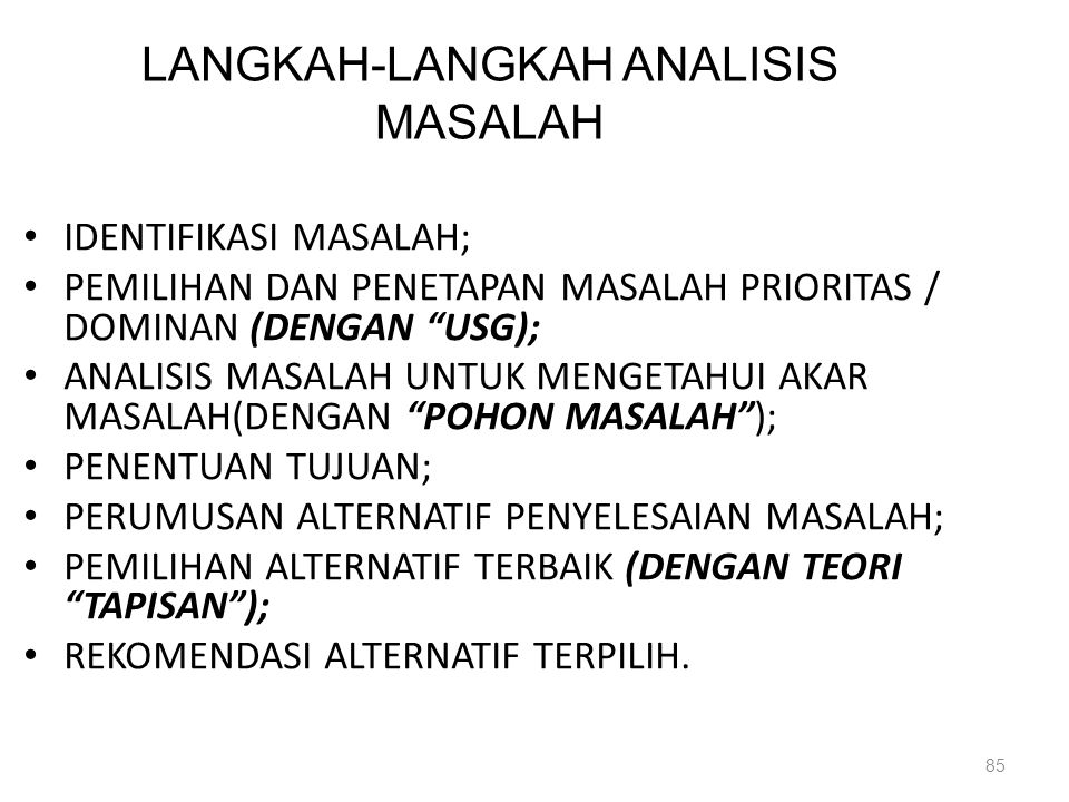 LANGKAH-LANGKAH ANALISIS MASALAH