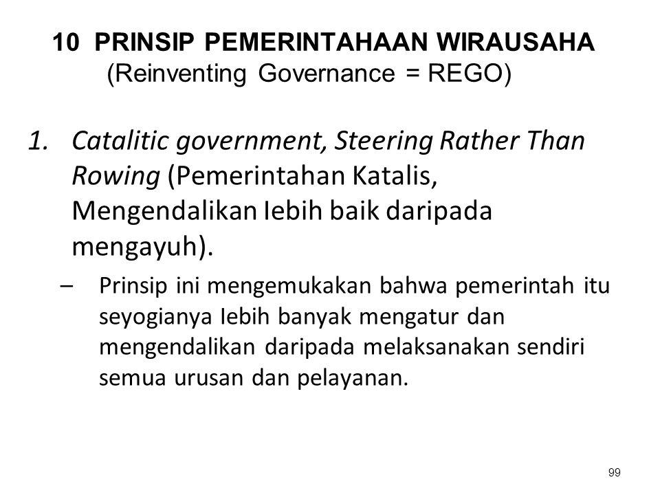 10 PRINSIP PEMERINTAHAAN WIRAUSAHA (Reinventing Governance = REGO)