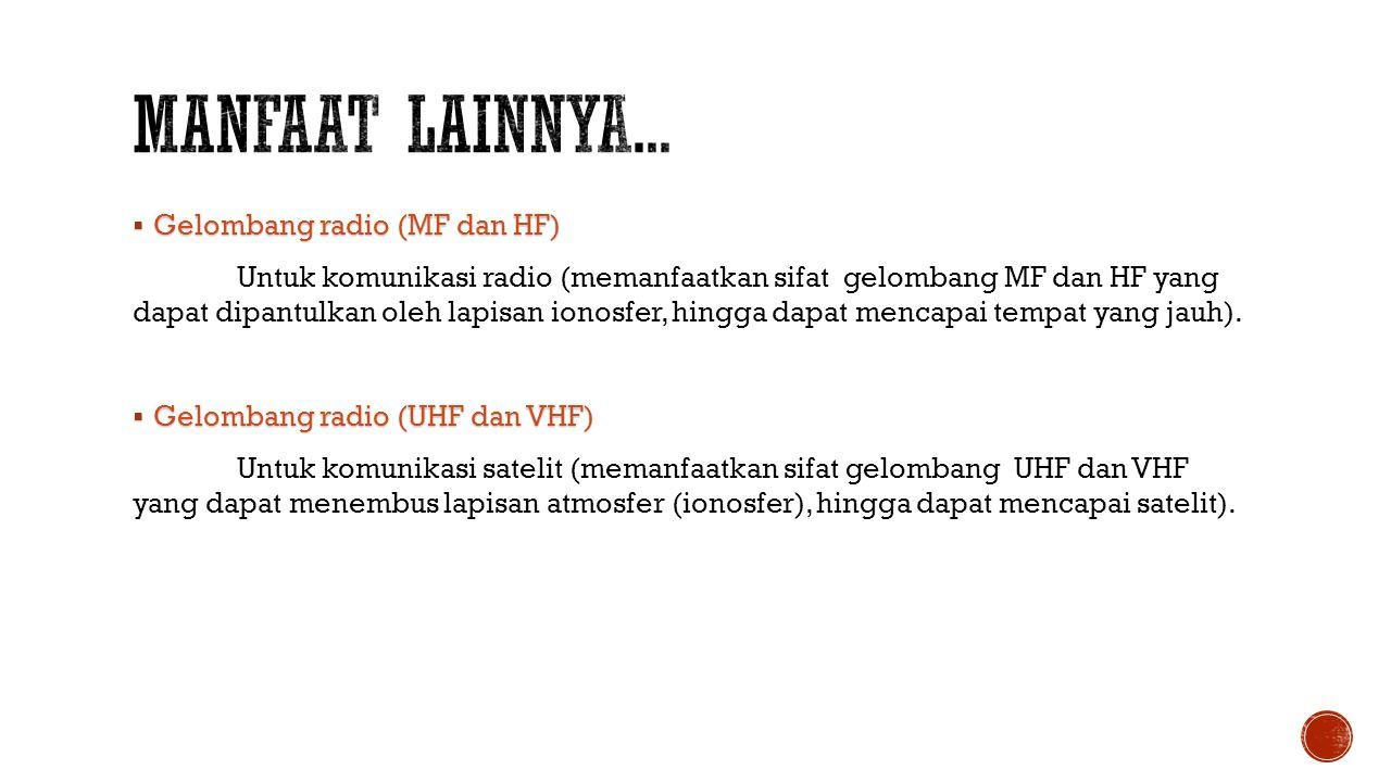 Manfaat lainnya... Gelombang radio (MF dan HF)