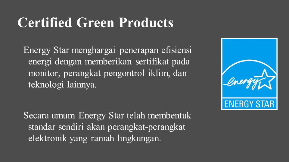 Certified Green Products