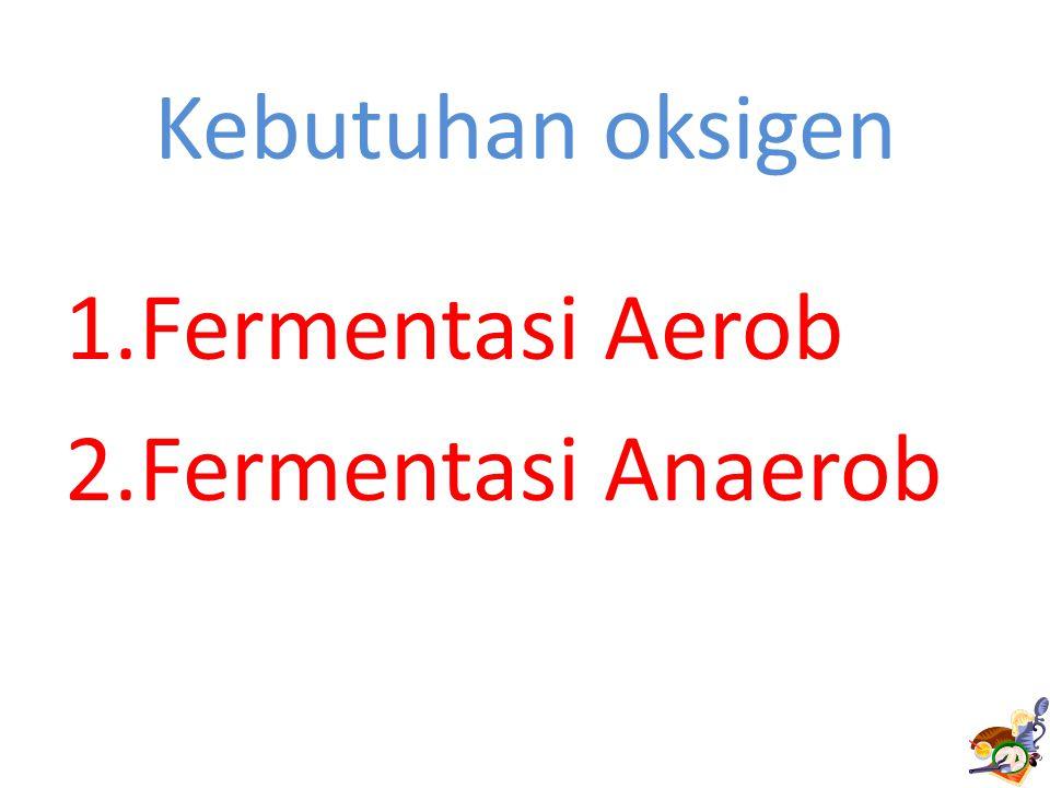 Kebutuhan oksigen Fermentasi Aerob Fermentasi Anaerob