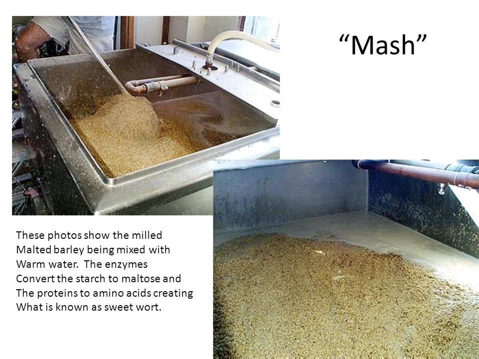 Mash These photos show the milled Malted barley being mixed with