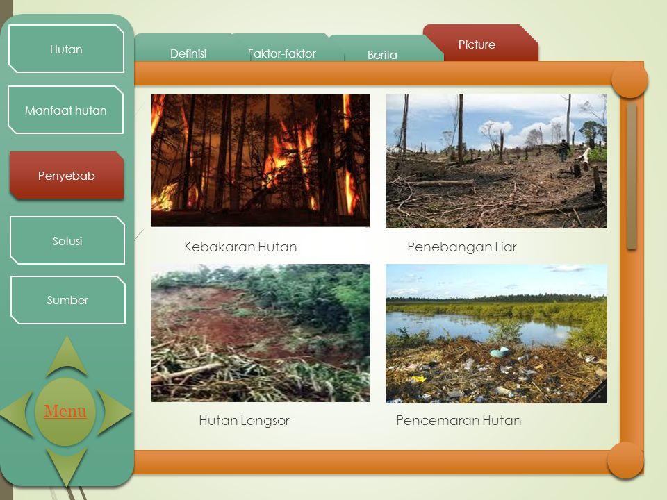 Menu Kebakaran Hutan Penebangan Liar Hutan Longsor Pencemaran Hutan