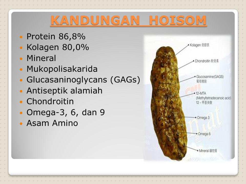 KANDUNGAN HOISOM Protein 86,8% Kolagen 80,0% Mineral Mukopolisakarida
