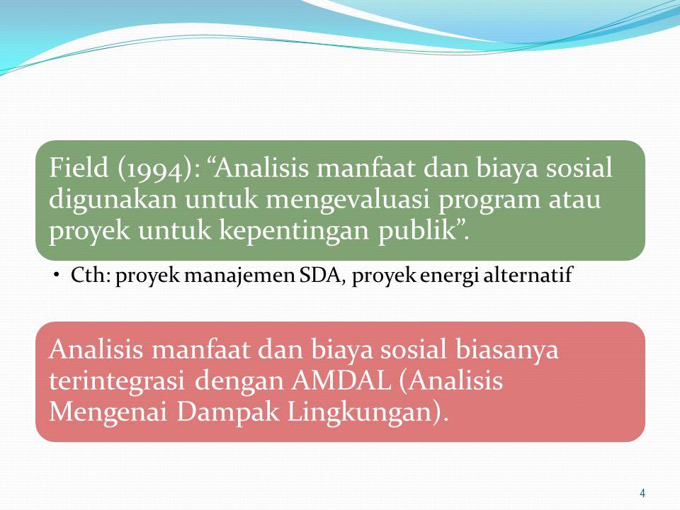Field (1994): Analisis manfaat dan biaya sosial digunakan untuk mengevaluasi program atau proyek untuk kepentingan publik .