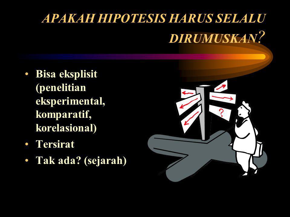 APAKAH HIPOTESIS HARUS SELALU DIRUMUSKAN
