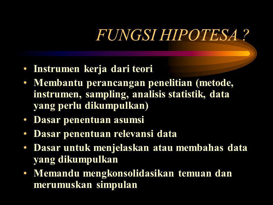 FUNGSI HIPOTESA Instrumen kerja dari teori